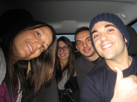 """""""the car of love"""" 31 January 2014 from Milano to Rimini-Ancona-Porto San Giorgio. A tour leader from Milan (Luisa), a marketing consultant from Rome (driver), a student from Marche (left) and a soldier from Campania (right). Different origins, different destinations, but same reason for traveling: visiting our beloved. Lots of talking and laughing about the hard life of  long-distance relationships"""